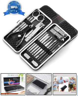 Manicure Pedicure Set (18Pcs), KFYM manicure tools, Stainless Nail Clipper, Professional Grooming Kit, Nail Tools