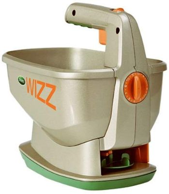 Scotts Wizz Hand-Held Spreader with EdgeGuard Technology - Apply Grass Seed, Fertilizer or Ice Melt