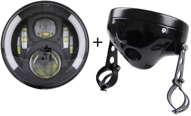 SKTYANTS 7 7 Inch led Headlights with 7-inch Housing Bucket DRL Turn Signal Lights Motorcycle