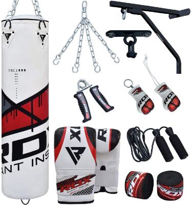 RDX Punch Bag for Boxing Training | Filled Heavy Bag Set with Punching Gloves, Chain, Wall Bracket