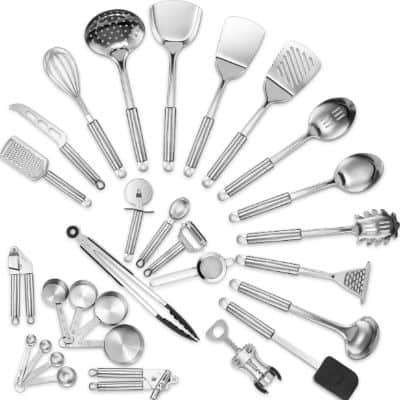 Klee Deluxe 29-Piece Heat-Resistant Stainless Steel Kitchen Utensil Set