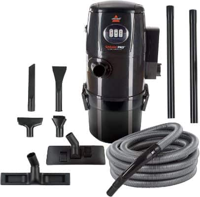 BISSELL Garage Pro Wall-Mounted Wet Dry Car Vacuum:Blower With Auto Tool Kit, 18P03-Gray