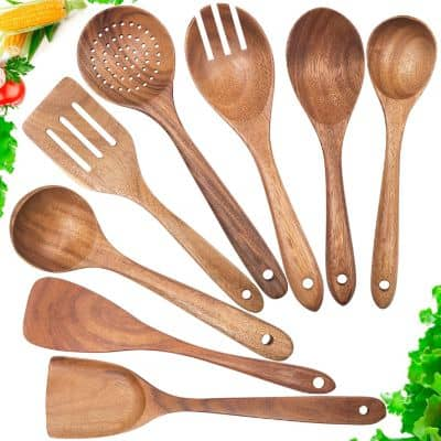 Wooden Spoons for Cooking, Nonstick Kitchen Utensil Set