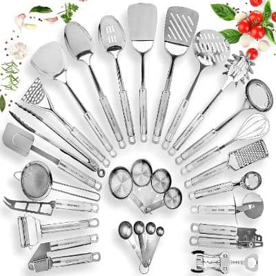 Home Hero Stainless Steel Kitchen Utensil Set - 29 Cooking Utensils