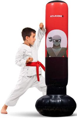 Inflatable Kids Punching Bag – Free Standing Ninja Boxing Bag for Immediate Bounce-Back for Practicing Karate