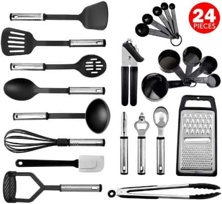 Kitchen Utensil Set 24 Nylon and Stainless Steel Utensil Set