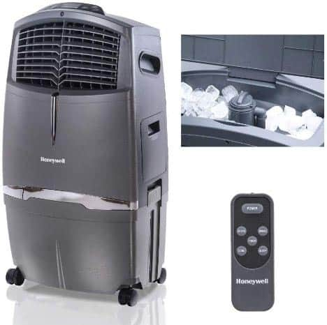 Honeywell 525-729CFM Portable Evaporative Cooler, Fan & Humidifier with Ice Compartment & Remote, CL30XC