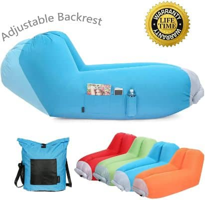 Inflatable Air Lounger With Adjustable Backrest