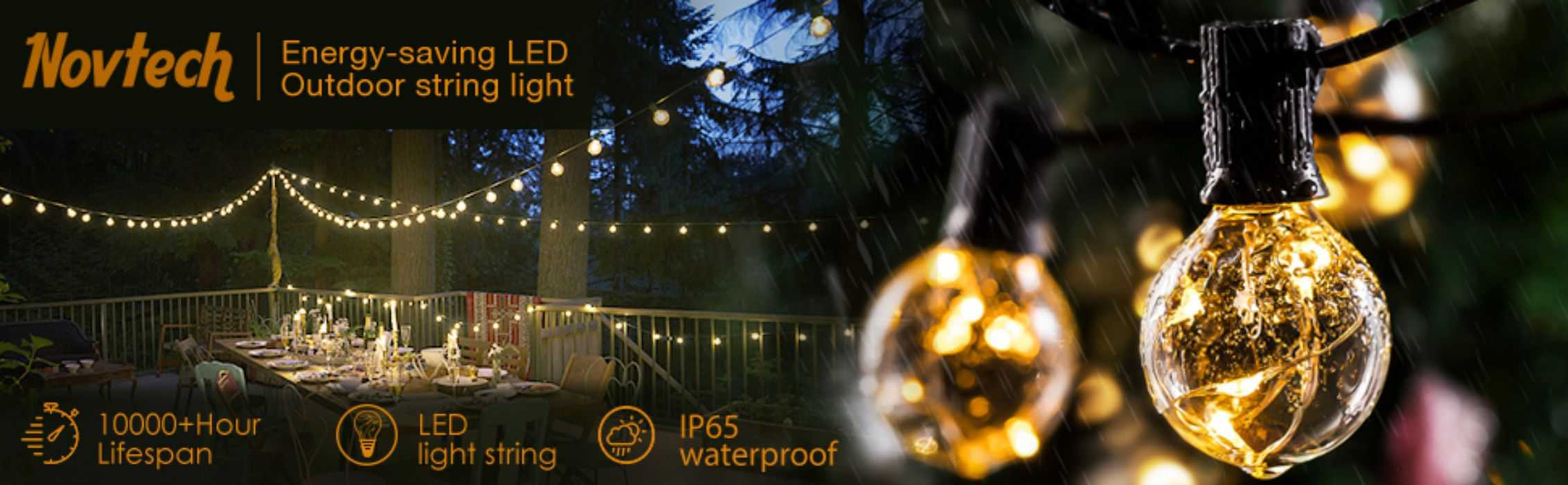Novtech Waterproof Outdoor LED Globe String Lights 3